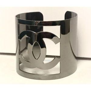 CHANEL CC Logo Gunmetal Cuff Bracelet